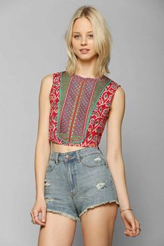 Multicolor Print Staring At Stars Ikat Embroidered Bib Tank Crop Top @ Urban Outfitters $40