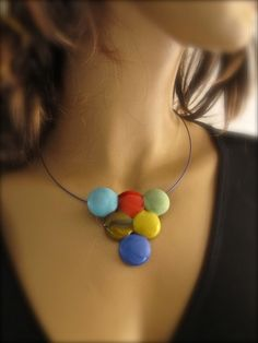 Multicolor Cabochon Fused Glass Choker FREE SHIPPING by Glassimo, $28.00