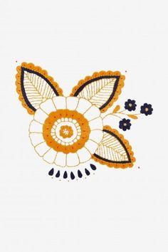 Golden Marigold Motif - pattern - By level - DMC Bat Pattern, Poppy Pattern, Flamingo Pattern, Border Pattern, Free Pattern, Fish Patterns, Star Patterns, Cross Stitch Patterns, Calendula