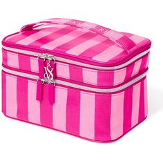 Victoria's Secret Supermodel Train Case (235 EGP) ❤ liked on Polyvore featuring beauty products, beauty accessories, bags & cases, makeup, pink stripe, eau de perfume and victoria's secret