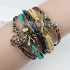 Infinity Bracelet, Mermaid Bracelet, Anchor Bracelet, Octopus Bracelet, Charms, Gift for Relatives & Friends, Festival Present, $7.99