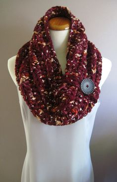 Chunky Bulky Button Crochet Cowl: Burgundy with Shimmery Fabric and Black Button