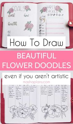 How To Draw Flower Doodles In Your Bullet Journal Bullet Journal Notebook, Bullet Journal Layout, Bullet Journal Ideas Pages, Bullet Journals, Doodle Drawings, Doodle Art, Flower Doodles, Hand Doodles, Planner Organization