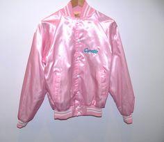 Vintage 90s Baby Pink Shiny Corvette Bomber Jacket by BADUNICORN
