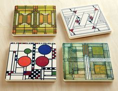 Wright Art Glass Coaster Set, Coasters, Tabletop, Home Furnishings - The Museum Shop of The Art Institute of Chicago