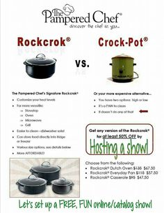 """Who wants a RockCrok for 50% off? This is the """"do it all"""" pan for every Kitchen!  Shop or Host with me, I specialize in online/catalog & facebook shows: www.pamperedchef.biz/katiefought"""
