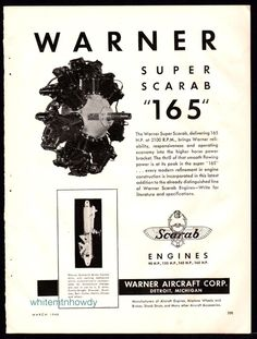 1940 WARNER Super Scarab 165 Aircraft Engine AD Vintage Aviation Advertising