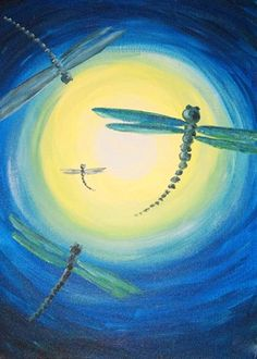 """""""Dragonfly Sky"""" Paint the perfect party at www.GalleryOnTheGo.com!  #GOTGFun #ArtOfSocializing"""