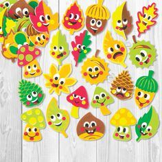Buy Autumn Friends Foam Stickers at Baker Ross. Fun leaf foam stickers with printed faces - add to crafts and collage. Crafts To Sell, Diy And Crafts, Autumn Crafts, Nail Nail, Fall Diy, Back To School, Barn, Collage, Clip Art