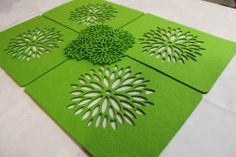 Placemats and Coaster Aster Flower Felt Table Mats Set of 12 Laser Cut Auction