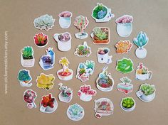 You will receive 28 succulent-design sticker flakes.  Each flake is an individual sticker that can be peeled off from its backing.  These stickers are perfect for scrapbooking, gift wrapping, sticking into planners and diaries to mark special occasions, and make perfect gifts for EVERYONE, regardless of age!  I am a sticker collector too, and am very careful that all the stickers that I sell are 101% authentic, free of any printing imperfections, and are 1000% kawaii =)  Please let me kn...