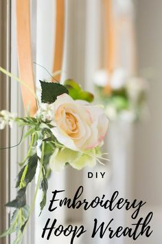 Make a beautiful DIY embroidery hoop wreath with a embroidery hoop and a thrifted floral arrangement. Wreath Crafts, Diy Wreath, Decor Crafts, Easy Crafts, Wreath Ideas, Easy Diy, Easter Wreaths, Holiday Wreaths, Make Your Own Wreath