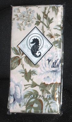 WATERFORD LINENS SET OF 4 DINNER NAPKINS, JADEN, BLUE FLORAL NEW #Waterford