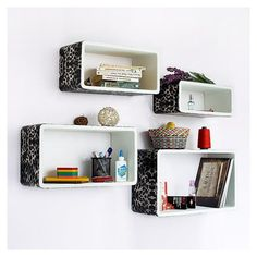 Trista - [Leopard & White] Rectangle Leather Wall Shelf / Bookshelf / Floating Shelf (Set of 4)