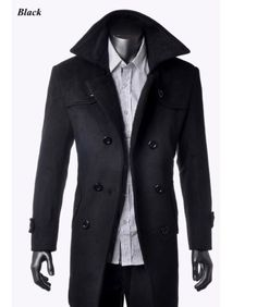 Hot Sell Fashion Men's Wool Coat Winter Trench Coat Outear Overcoat Long Jacket   eBay