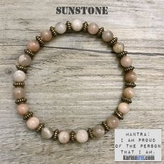 MANTRA: I am proud of the person that I am. - 6mm Sunstone Round Natural Gemstones - Antique Bronze Rondelles - Commercial Strength, Latex-Free Elastic Band - Handcrafted in our West Hollywood Studio