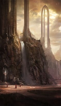 "The Age of the Third Shattering has been dubbed by historians ""The Age of the Gods"". Deities of great power arose to stem the tide of destruction, giving rise to majestic temples. Some shards still echo with the chants and power of those ancient gods (like this site on the reef shard of Bane, The Shard of Destiny) (Must-See Concept Art by James Paick)"