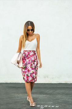 floral skirt with tank top