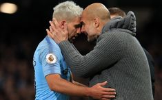 Sergio Aguero of Manchester City is embraced by Josep Guardiola, Manager of Manchester City as he is substituted during the Premier League match between Manchester City and Manchester United at. Get premium, high resolution news photos at Getty Images Manchester City, Manchester United, Manchester England, Sergio Aguero, Zen, Soccer Pictures, Premier League Matches, Blue Moon, United Kingdom