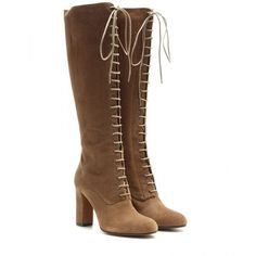 Etro Suede Lace-Up Knee-High Boots (1 769 AUD) ❤ liked on Polyvore featuring shoes, boots, brown, brown suede boots, lace up boots, laced boots, knee high boots and brown knee boots