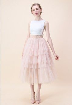 Swooning? We get it! This layered tulle skirt in a confectionary pink has us head over heels in love. - Tiered mesh fabric finished - Multi mesh layer .