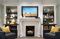 Awesome Fireplace Ideas for Small Living Room - The Urban Interior Tv Above Fireplace, Living Room With Fireplace, Fake Fireplace, Fireplace Mirror, White Fireplace, Classic Fireplace, Mantel Shelf, Mantle, White Built Ins