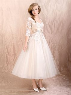 Ball Gown Sleeves With Satin Sash Tea Length Lace Dress PD1874