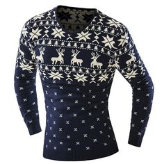 sale retailer d92eb 43564 Hot Sale V-Neck Christmas Snowflake Fawn Intarsia Color Block Slimming Long  Sleeves Sweater For Men