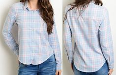 Pink Blue Plaid Button Up Shirt Seamed Pointed Collar Cotton Chic Fashion Blouse #Fashion #ButtonDownShirt #Career