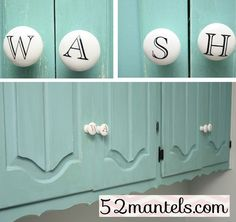 painting laundry room cabinets a fun color instead of standard white Laundry Room Cabinets, Laundry Room Organization, Cupboard Handles, Knobs And Handles, Cabinet Knobs, Turquoise Cabinets, Laundry Room Remodel, Decoration, Interior Design Living Room