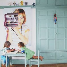Massively enlarged kid's photo for decor, lovely idea. #kids #decor