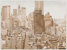 The Holistic Green Garden: Philip Pearlstein: View over Soho, Lower Manhattan, 1977-78