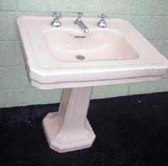 vintage bathroom pedestal sinks. Vintage Plumbing Bathroom Antiques - Coral Colored Standard Co. Pedestal Sink, With All Original Sinks N