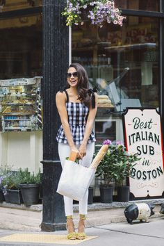 August 2016 — Unfortunately this peppy Kate Spade top is out of stock, but there's plenty of other checked tanks up for grabs — not to mention insanely-adorable fringed heels. BUY NOW