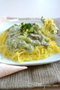 [AIP: black pepper, Stage 1] [Candida: omit mushrooms] Broccoli Cream Sauce over spaghetti squash #food #paleo #glutenfree