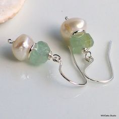 White Pearl Earrings with Aquamarine and Sterling Silver