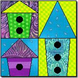 Bird houses quilt block paper piecing with downloadable templates  Cute!