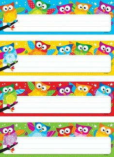 Owl name tags from Trend. Owl Classroom Decor, Stars Classroom, Classroom Labels, Classroom Displays, Classroom Themes, Preschool Name Tags, Owl Preschool, Owl Name Tags, Desk Name Tags