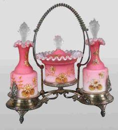 154: (3)pc. pink Satin condiment set. 1890