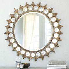 Round Mirrors above Fireplace | Found on ballarddesigns.com