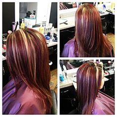 Red and blonde highlights on brown hair. Blonde Hair Natural Roots, Red Blonde Hair, Blonde Streaks, Blonde Hair Makeup, Red Brown Hair, Brown Hair With Blonde Highlights, Hair Highlights, Dark Brown, Chunky Highlights