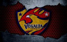 Download wallpapers Vegalta Sendai, 4k, logo, art, J-League, soccer, football club, FC Vegalta Sendai, metal texture