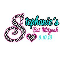 Custom Personalized Bat Mitzvah Logo - Hot Pink and Teal Zebra Print Pattern by Cutie Patootie Creations - ANY PATTERN, COLOR COMBO AVAILABLE www.cutiepatootiecreations.com