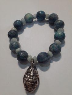 Natural blue coral and barong sterling silver
