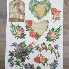 Watering Can Rice Paper For Decoupage Garden Flowers 8.27×11.69 Made In Russia