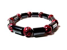 Men's Bracelet Featuring Red Mosaic Turquoise and Hematite by Designed By Audrey, $24.00