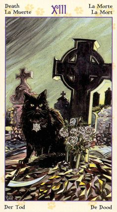 Today's tarotscope -- Death -- featuring the Tarot of Pagan Cats by artist Lola Airaghi and writer Magdelina Messina, published by Lo Scarabeo. Xiii Tarot, Le Tarot, Tarot Death, Tarot Major Arcana, Cat Cards, Oracle Cards, Halloween Cat, Illustrations, Occult
