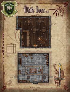 The White Boar Pub RPG Map by Alegion.deviantart.com on @DeviantArt