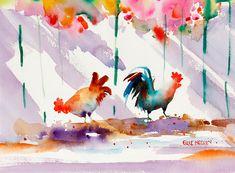 Art de poulet, coq Art, Key West en Floride, Tropical Art, papier aquarelle, coloré peinture Ellen Negley, 11 x 14, 16 x 20 ou 20 x 24  « Key West Alarm Clock » sinspire de toutes les poules et les coqs errant à Key West. Les couleurs de leurs plumes sont étonnants ! Ils semblent savoir quils à Key West... juste prennent il simple et trempage le soleil et le plaisir. Lautre négative... il est difficile de dormir.  Disponible emmêlé en 3 tailles : 11 x 14, 16 x 20 et 20 x 24. Les mesures sont…