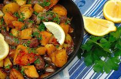 Potato with Boerewors (patatas Bravas Tapas) South African Dishes, South African Recipes, Ethnic Recipes, Potato Dishes, Food Dishes, Side Dishes, Sausage Recipes, Beef Recipes, Recipes